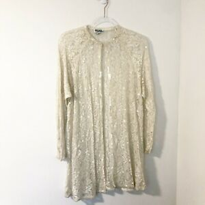 Vintage-Ivory-Lace-Sequin-Beaded-Embellished-Duster-Women-s-Size-Medium