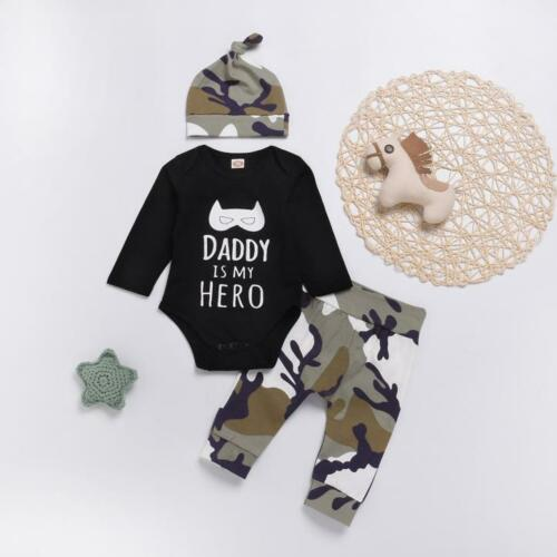 Toddler Infant Baby Boy Clothes Letter Cartoon Romper Tops+Camo Pants Outfit Set