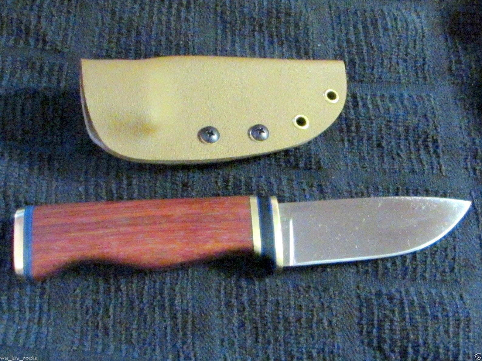 Bushcraft hunting knife D2 Tool Steel handmade hardwood handle Kydex sheath 2B