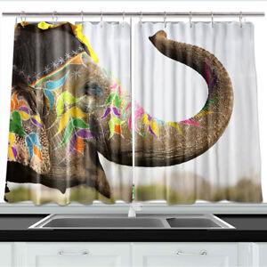 Details About Festive Painted Elephant Kitchen Curtains 2 Panel Set Decor Window Drapes