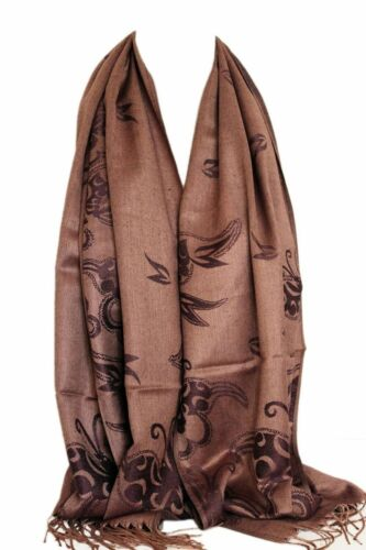 Two Sided Reversible Self Embossed Butterfly Print Pashmina Feel Scarf Shawl