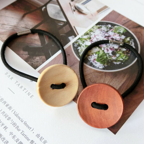 3pcs Women Simple Wood Elastic Hair Tie Rope Band Ponytail Holder Buttons  R