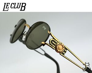 Le-Club-1502-53-NLOR-Vintage-90s-black-amp-gold-oval-sunglasses-mens-amp-women-NOS