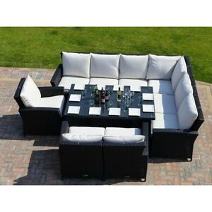 Image Is Loading 9 Seater Rattan Garden Furniture Sofa Dining Table