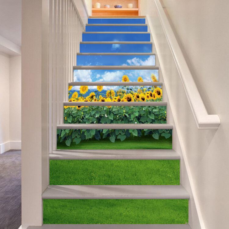 3D Sonnenblueme Stair Risers Dekoration Fototapete Vinyl Aufkleber Tapete DE