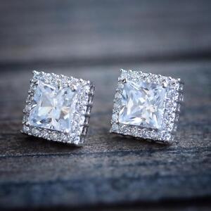 Mens-Womens-Square-Cushion-Cut-White-Gold-Plated-Lab-Diamond-Stud-Earrings