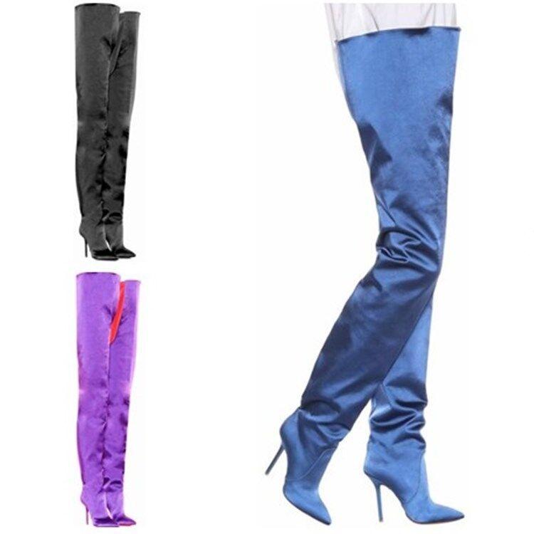 Cuissardes Femmes Cuisse Bottes Longues et talon aiguille bout pointu et pantalon Chaussures