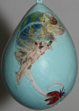 gourd Easter egg, garden or Christmas ornament with chameleon, gecko and ladybug