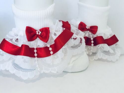 Handmade Red beads bow baby// girls frilly socks 6 sizes available