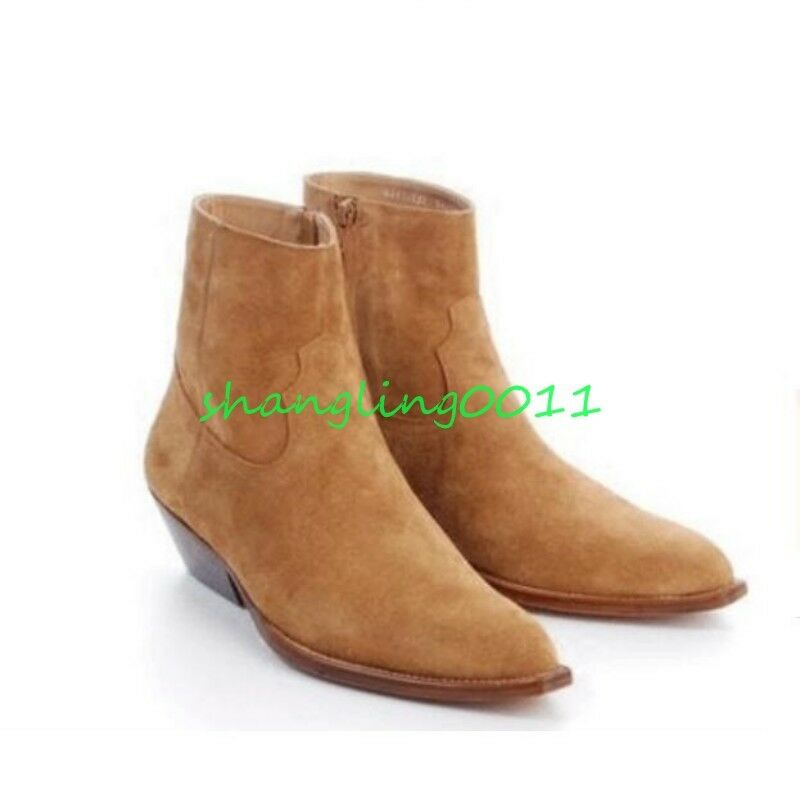 Uomo Retro Suede Leather New Cowboy High Top Chelsea Ankle Boots Mid Heels Shoes