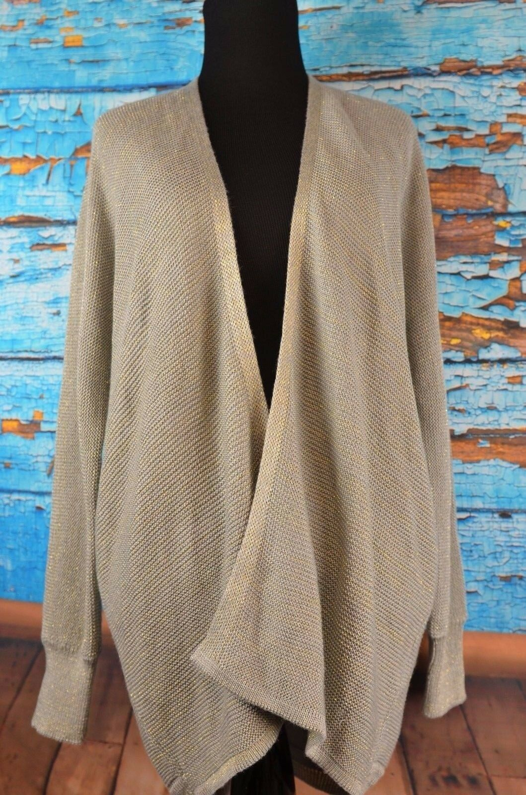 Costa whitea Open Front Cardigan Cutout Sweater Size Medium Asymmetric Boho Knit