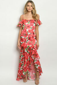 Red-Floral-Cold-Shoulder-Maxi-Dress-Gown-Size-Medium-Mermaid-Cut