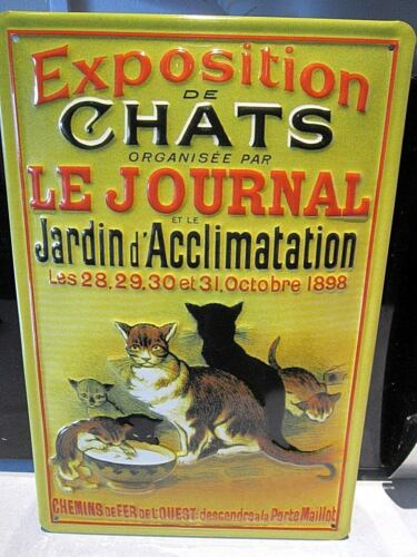 EMBOSSED METAL ADVERTISING SIGN 30x20cm CHATS FRENCH 3D CAT SHOW PARIS 1898