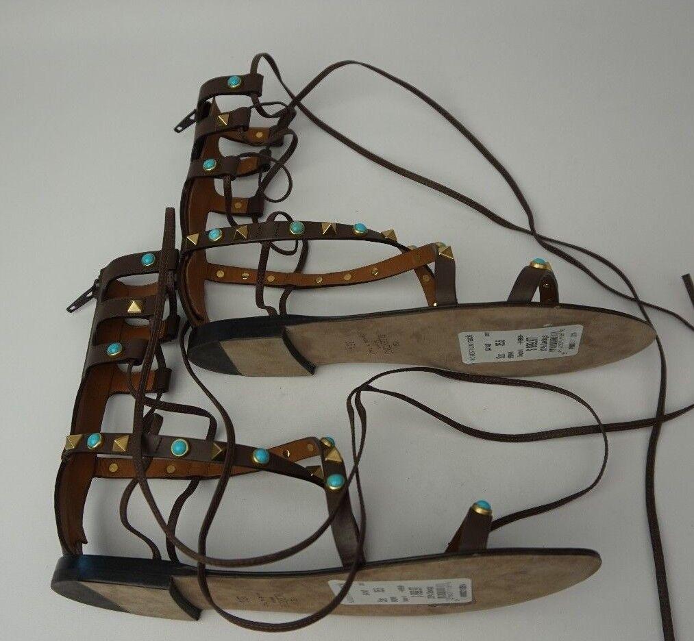 Valentino Garavani Rockstud Rodante Sandalia Gladiador Marrón Zapatos