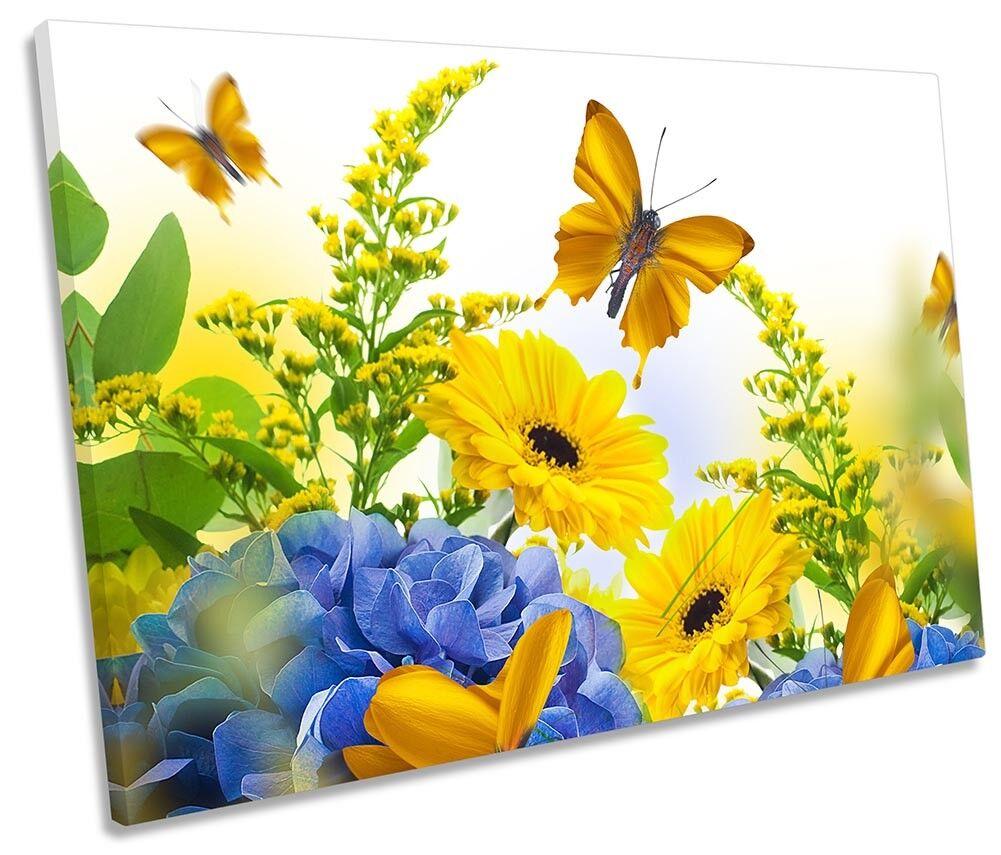 GIALLO Farfalla Singola Floreale Fiore Foto Tela Singola Farfalla Wall Art Print a51d77
