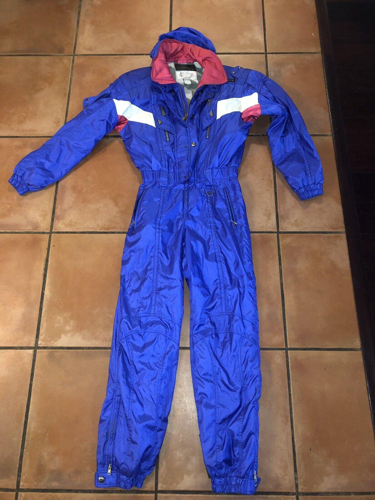 Men's VTG 1992  520 Descente Hood PRO Neon lila US SKI TEAM Full Ski Suit Sz M