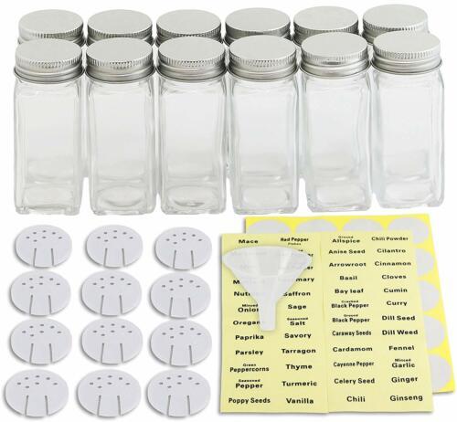 Empty Spice Bottles Condiment Pots Glass Containers Square 4oz Spice Jars Set