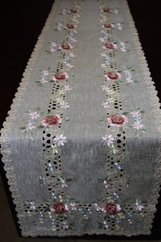 Embroidery Organza Sheer Fabric Embroidered Handmade Rose Bling Placemat Runner