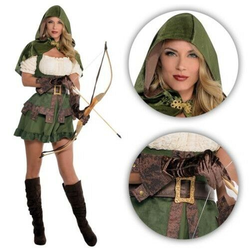 Ladies Medieval Elf Elven Archer Robin Hood Maid Marion Pan Fancy Dress Costume
