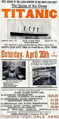 1912 Titanic White Star Maiden Voyage Largest Liner ...