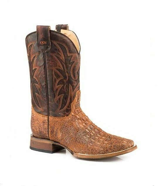 Roper Men's Brown Emboss Leather Concealed Carry Square Toe Western Cowboy Boots