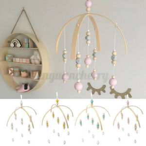 Wind-up-Wooden-Beads-Toy-Bed-Bell-Baby-Crib-Bracket-Mobile-DIY-Holder-Arm