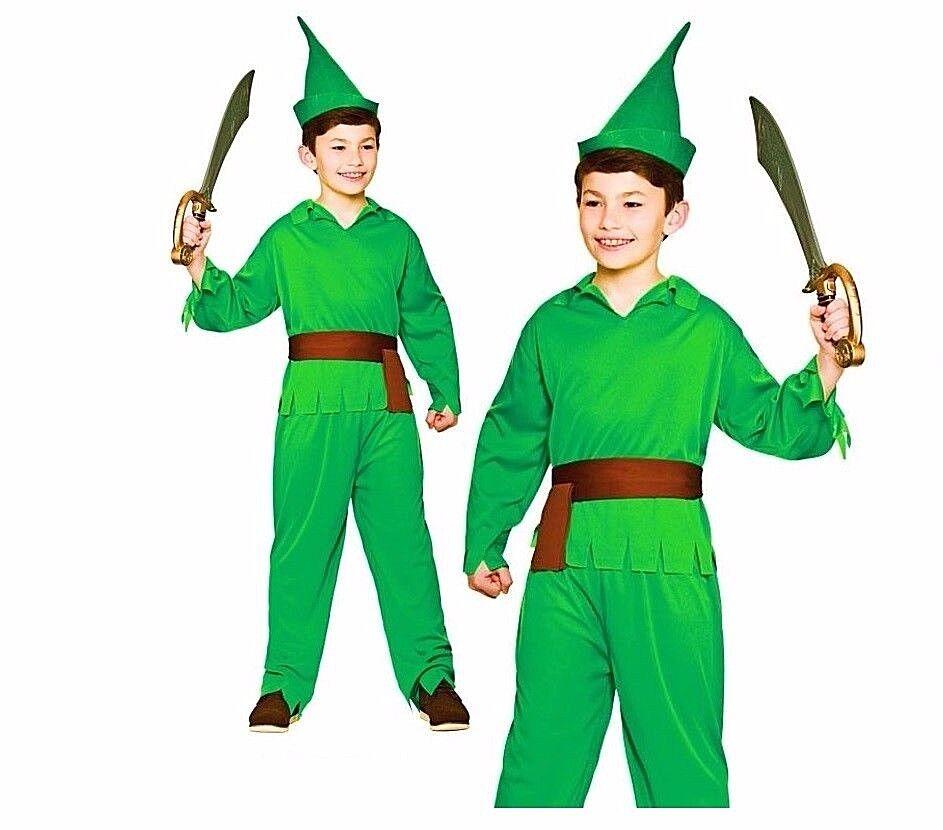 Child LOST BOY ROBIN HOOD ELF Long Boys Fancy Dress Book Week Costume Age 5-13