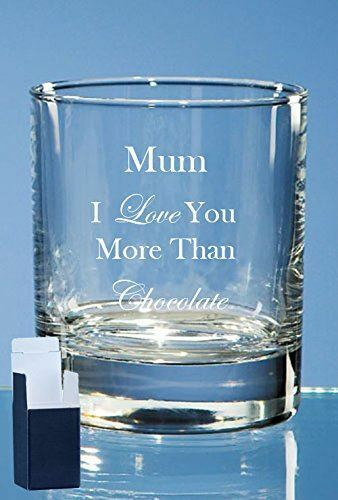 Personalised Engraved Mum I Love You Quote Old Fashioned Whisky Tumbler Mothe...