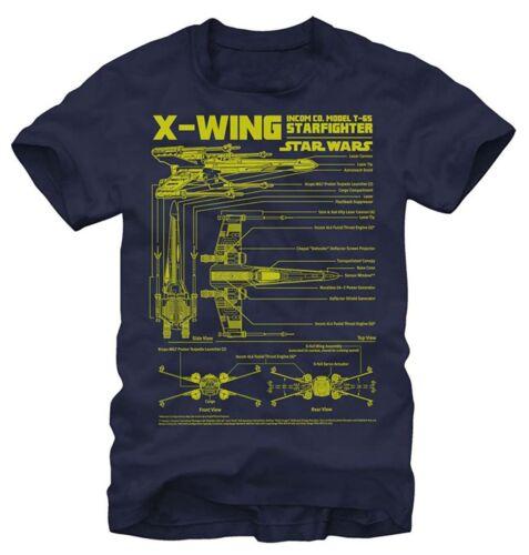 Star Wars T-65 X-Wing Starfighter Schematics Navy Men/'s T-Shirt New