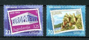 Serbie-2016-neuf-sans-charniere-journee-du-timbre-europa-cept-60th-anniv-chateaux-2v-lot-timbres-sur