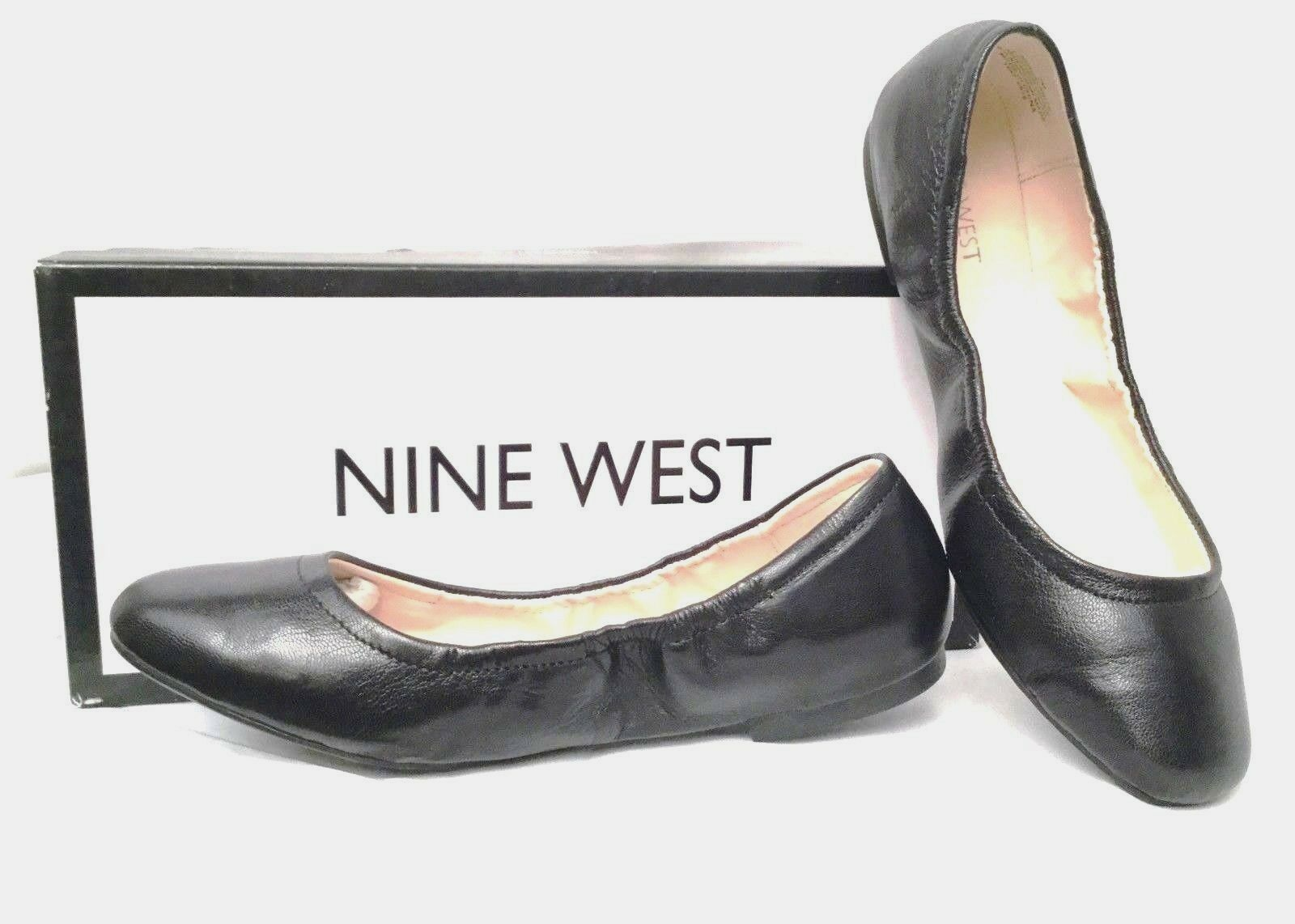NINE WEST GirlsNite Ballet Flats in BLACK Leder, SIZE 7M - BRAND NEU in BOX