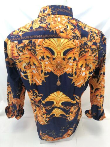 Mens PREMIERE Long Sleeve Button Down Dress Shirt BLUE GOLD JEWELS ABSTRACT 333