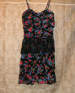 New-Black-Floral-Rockabilly-Tiered-Sleeveless-Western-Thin-Strap-Dress-L