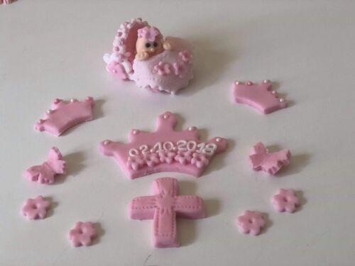 Christening baby girl pink white cake topper handmade 100/% edible crown flowers