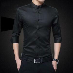Casual-Dress-Shirts-Men-039-s-Fashion-Slim-Fit-Tops-Stylish-Business-Long-Sleeve
