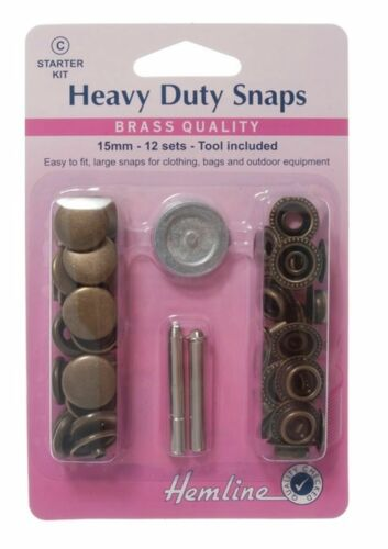 Antique Brass Heavy Duty Snaps 15mm X 12 Sets Poppers Fasteners Press Studs Bnip