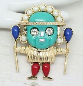 Impresionante cosecha firmada KJL Kenneth J Lane Figural Azteca Broche Pin Bisutería