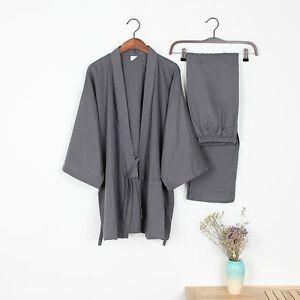 Hommes-Coton-Long-Hiver-Kimono-Pyjama-Set-Pantalon-Robe-De-Chambre-Japonais