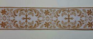 Vintage-Orphrey-Croce-Design-Color-Oro-Lame-Bianco-Fascia-per-Casula-8-3cm-C150