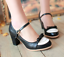 Women-Bowknot-Ankle-Strap-Heels-Retro-Mid-Chunky-Round-Toe-Mary-Jane-Shoe-Lolita thumbnail 2
