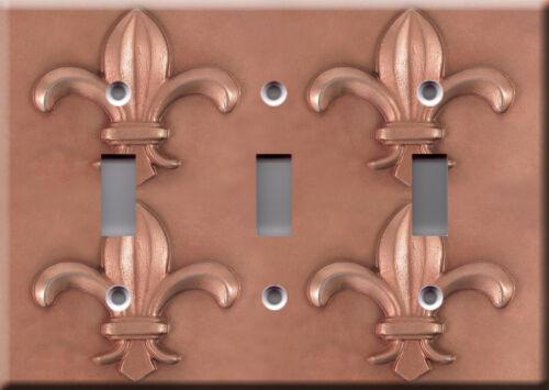Fleur-de-lis copper faux finish Medieval decoration Light Switch Plate Cover