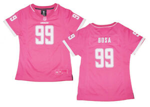 Girls Youth Los Angeles Chargers #99 Joey Bosa Pink Bubble Gum