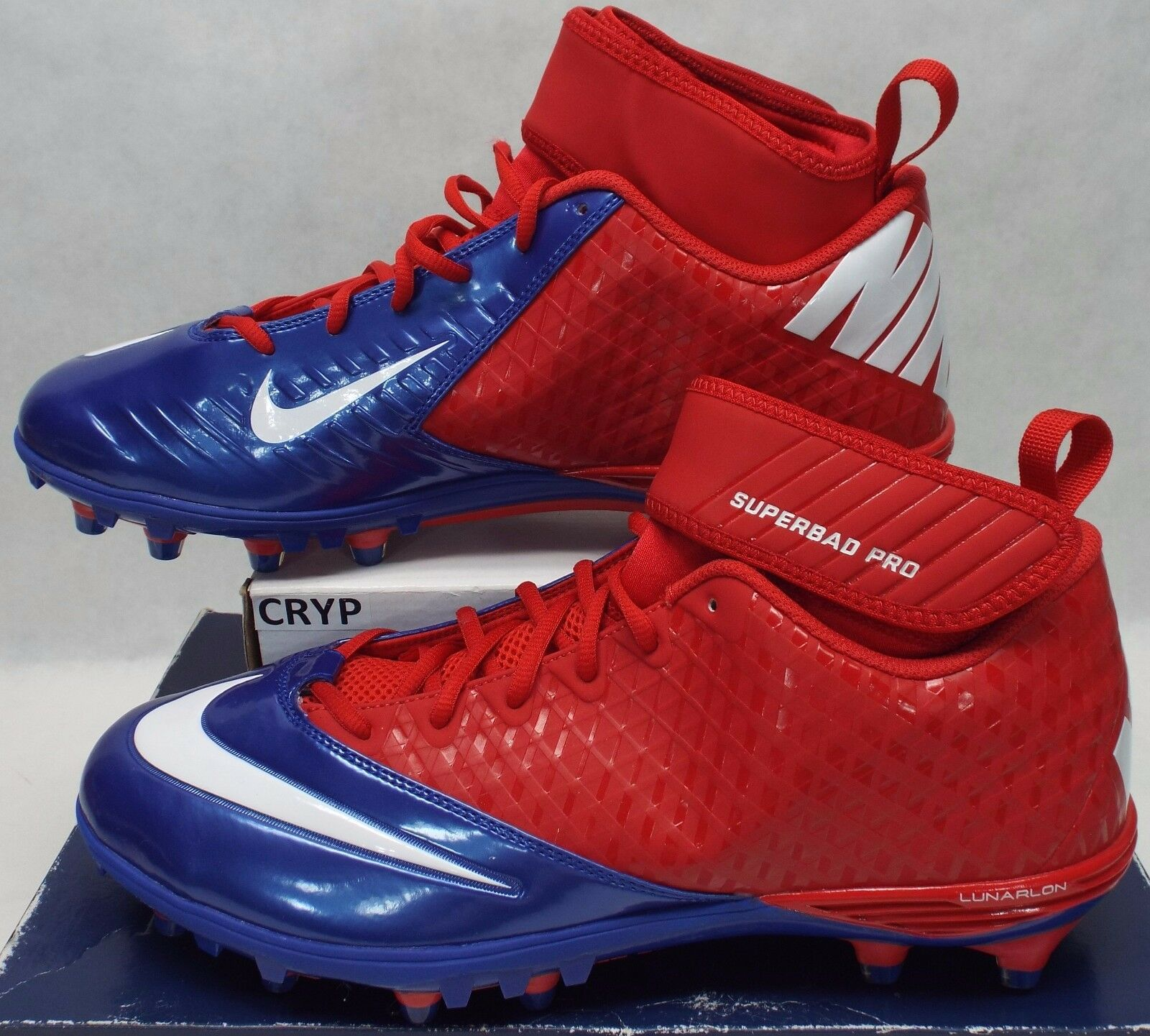 New Mens 13 NIKE Lunarlon Superbad Blue Red White Cleats Shoes 105 534994-604