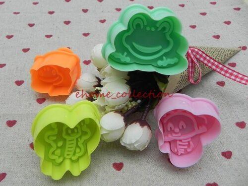 4x 3D Mignon Cartoon Grenouille Coléoptères Fondant Cookie Decorating Mold Sugarcraft moules