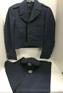 Vintage-1940-039-s-Military-Air-Force-Dress-Uniform-Cropped-Jacket-Pants-Hat-Wool