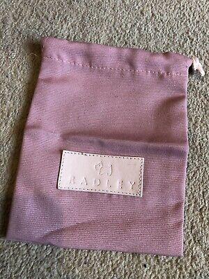 100% Vero Nuovo: Radley Rosa Cotone Borsa Di Polvere Sacchetto Con Coulisse Cravatta E Logo In Pelle- Delizie Amate Da Tutti