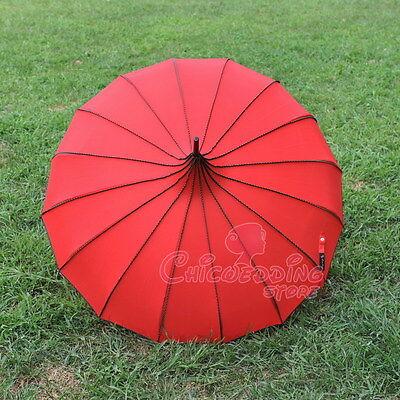 Red Nylon Waterproof Bridal Pagoda Umbrella Wedding Party Sun Parasol Decoration