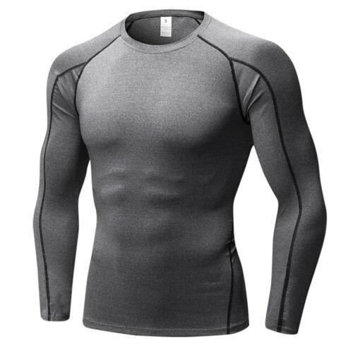 Men's Long Sleeve Elastic Sports Tops Fitness Running Training T-Shirt Quick Dry