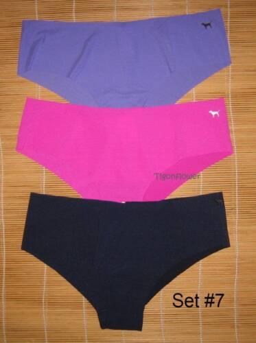 3 Victoria/'s Secret Pink raw cut No Show Panties Cheekster Large You choose set