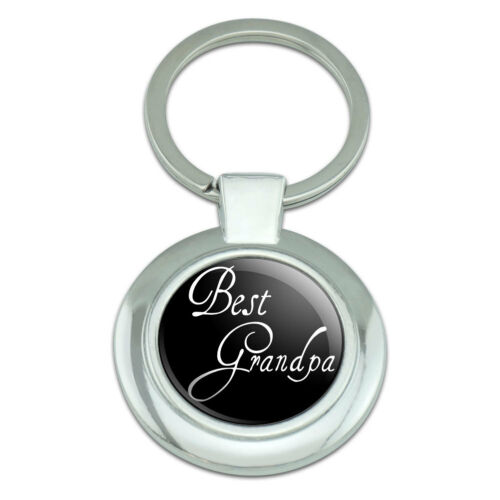 Best Grandpa Classy Round Chrome Plated Metal Keychain